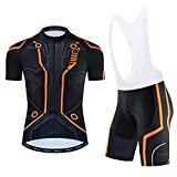 Lo.gas Mens Cycling Jesery Set Bicycle Short Sleeve Breathable Mens Cycling Jersey and Shorts with 3D Padded Orange