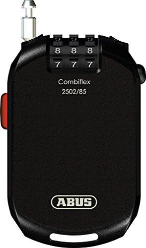 ABUS Spezialschloss Combiflex 2502/85 - Kabelschloss zur Gepäcksicherung, Helmsicherung, als Skischloss - 85 cm Stahlkabel - mit Zahlencode - Schwarz