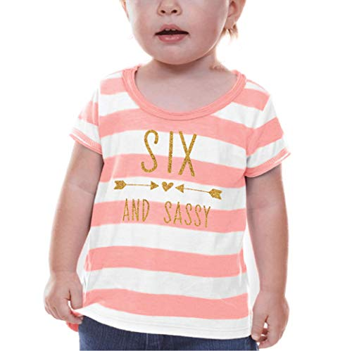 Bump and Beyond Designs Sixth Birthday Shirt Girl Sixth Birthday Outfit (6T)