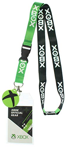 Xbox Doppelseitig ID Schlüsselband Badgeholder mit 1,5' Runde Gummi Charm Anhänger