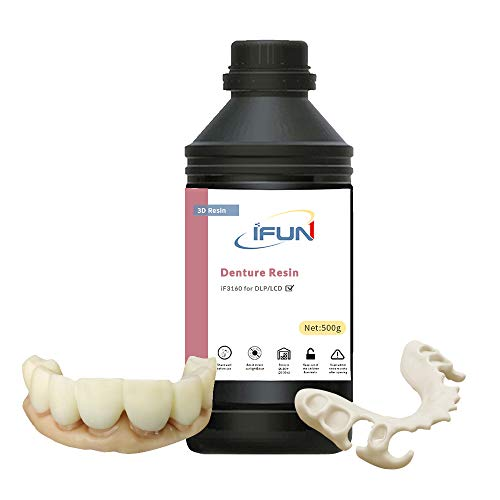 IFUN Dental Mold Resin 3D Printer LCD DLP HiTemp Hi-Rigid Hi-Impact Resistance 405nm SLA UV Cure Rapid 3D Printing Liquid Photopolymer Resin Ivory 500g
