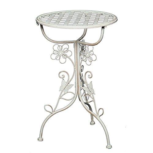 """Tavolino da giardino """"Flora"""", diametro 32cm, in ferro, stile vintage / shabby chic, colore bianco"""