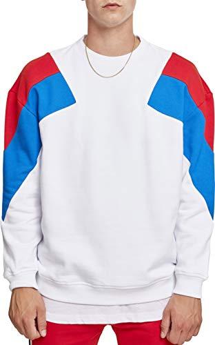 Urban Classics Herren Sweatshirt Oversize 3-Tone Crew, Mehrfarbig (Wht/Brightblue/Firered 01462), M