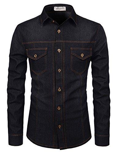 TheLees (NKTHS603) Slim Fit Long Sleeve Ultimate Spandex Washing Denim Shirts BLACK US M(Tag size M)