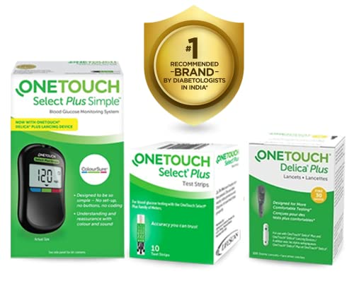 OneTouch Select Plus Simple Glucometer (Free 10 Strips)