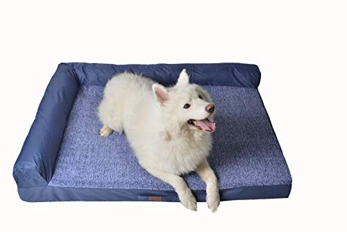 RAIKOU Weiches Hundebett, gepolstertes waschbares Haustierbett Hundesofa Hundekorb(Blau Melange,80x60x7cm)