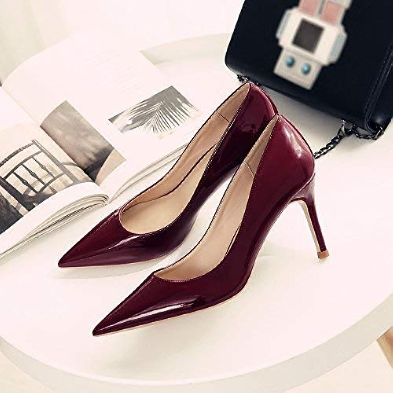 Gericht Schuhe Einzelne Schuhe weibliche frische frische frische High Heels Frau zeigte fein mit Brautschuhe Hochzeit Schuhe weiblich (Farbe   32, Größe   Wine rot 6CM)  54f657