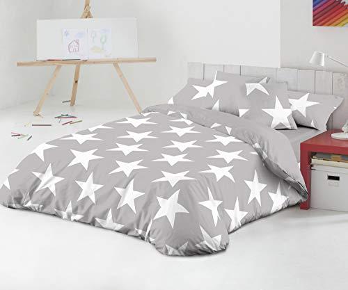 TEXTILONLINE - Funda Nordica 3 Pzas. Star (Cama 90 cms, Gris)