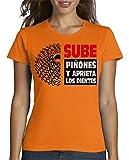 latostadora - Camiseta Sube Piones para Mujer Naranja XL