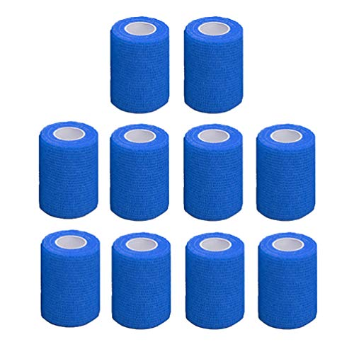 LIOOBO 10 Roll Self Adhesive Bandage Rolls Elastic Self Adherent Tape First Aid Wrap Bandages for Wrist and Ankle Sprains Swelling Blue