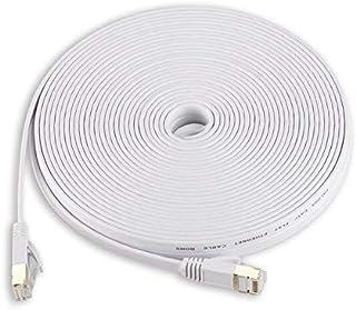 كابلات وموصلات الكمبيوتر - كابل إيثرنت أبيض بطول 1 متر 15 متر 30 متر كابل إيثرنت مسطح Cat 7 Cat7 كابل RJ45 SSTP Lan راوتر ...