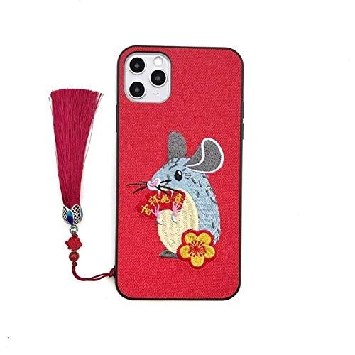 SCBJBZ Chinesischer Neujahrstelefonkasten für iPhone 11 Pro maximales XS maximales XR 7 8 Ratten-Jahr-Stickerei-Quaste-stoßfeste rückseitige Abdeckung iPhone X rot
