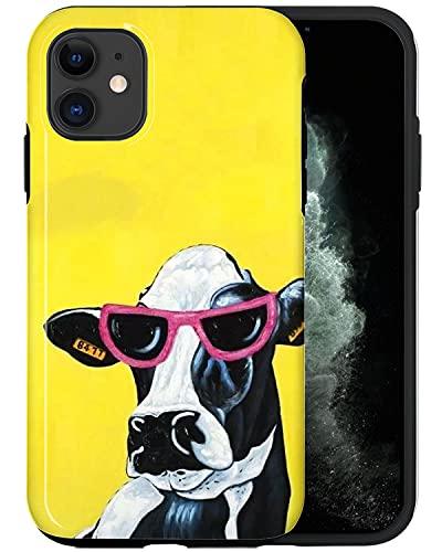 JUSPHY - Carcasa para iPhone 12, diseño de vaca con gafas de sol rosa PIN647