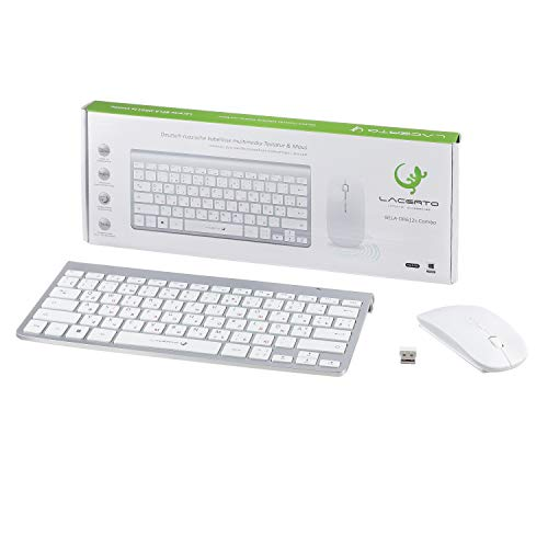 Lacerto® | Bilinguale Russisch-Deutsche Kabellose 2,4 GHz Multimedia Tastatur & Maus Set, Russian-German Wireless Multimedia Keyboard & Mouse | BELA-DR612s | Silber