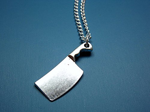 Jewelry tycoonButcher Knife Necklace - stainless steel chain zombie weapon funky necklace creepy cute necklace funny necklace quirky jewelry geek weird