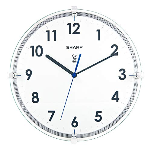 """Sharp Atomic Analog Wall Clock – 10.5"""" Suspended Glass Face Atomic Clock - Sets Automatically - Easy to Read – Updates Automatically to Time Zone and for Daylight Savings"""