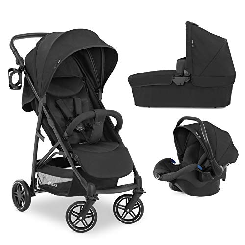 Hauck Rapid 4R Plus Trio Set 3 in 1 Kinderwagen Set bis 25 kg, isofix-fähige Babyschale, Babywanne ab Geburt, höhenverstellbarer Griff mit Becherhalter, XL Verdeck mit UPF 50+, klein faltbar - schwarz