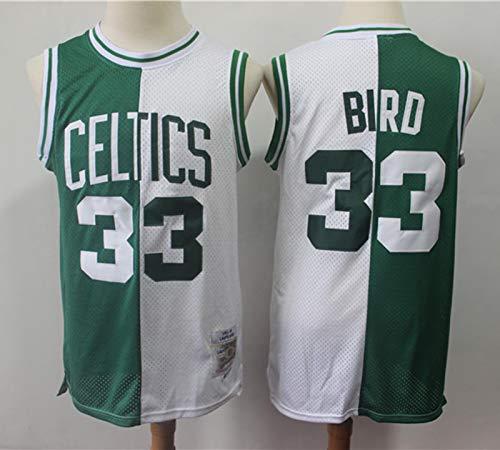 TGSCX Versión Retro Men's Basketball Jersey NBA Boston Celtics 33# Larry Bird Cómodo/Ligero/Transpirable Malla Bordada Swing Swing Sworing Sweatshirt,9,S