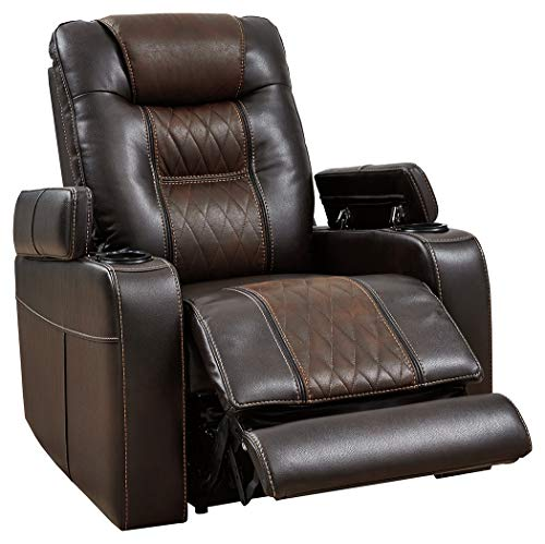 Signature Design by Ashley Composer Contemporary Power Recliner Adjustable Headrest Brown