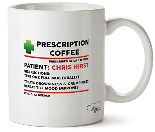 Hippowarehouse Personalised Name Coffee Prescription Printed Mug Cup Ceramic 10oz
