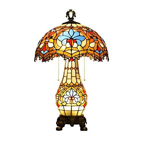 WEI-LUONG Estilo de Tabla de la lámpara Azul Barroco 2 Luces 40W de la Sala de la lámpara lámpara de cabecera de 15 Pulgadas Estilo Cubierta LED