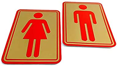eyesonme Man Woman Bathroom Toilet WC Decal Restroom Sign Decor Art Wall Home Hotel Office School Restaurant Room Decoration Reflect Gold Base self Adhesive foil 2 Dimension Stickers 8.5 x 12.5 cm