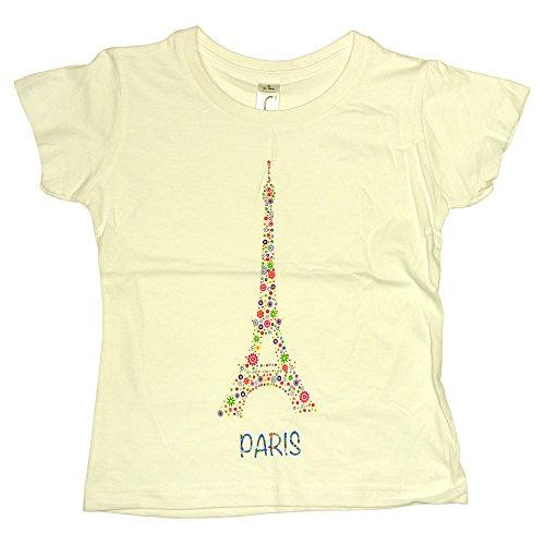 T-Shirt Bébé Paris 'Tour Eiffel Fleurie' - Blanc (0-6 Mois)