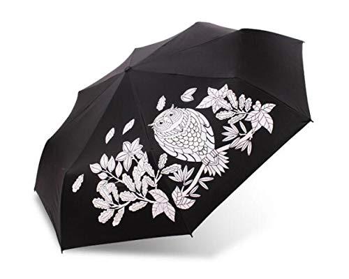 Sonnenschirm Regenschirm Kreative Begegnung Ändern Farbe Niedliche Eule Dreifach Falten Magic Regenschirm Regen Frauen Mujer Neuheit Artikel Gute Wahl Für Geschenk