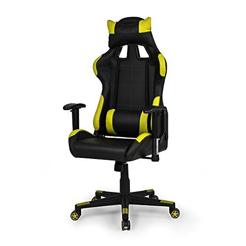 Due-Home - Silla ergonomica de Oficina Gaming Silverstone, sillón Giratorio para Escritorio, Estudio o despacho Color Amarillo, Medidas: 67x124x68 cm de Fondo