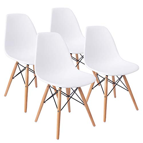 Furmax Pre Assembled Style Mid Century Modern DSW Shell Lounge Plastic Kitchen, Dining, Bedroom, Living Room Side Chairs Set of 4, White