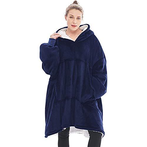 WLMGWRXB Suéter con Capucha de Manta, de Gran tamaño súper Blando cómodo Caliente Gigante con Capucha, Ajuste para Adultos Hombres Mujeres Adolescentes,Azul