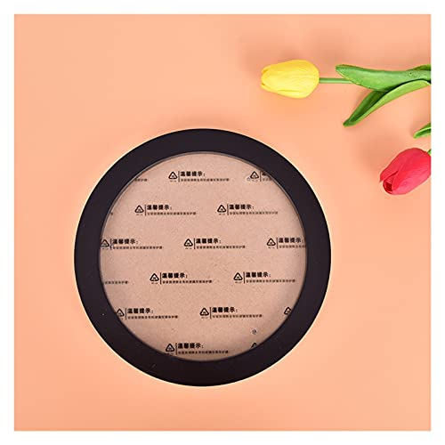 KJHJ Round Photo Frame DIY Wooden Photo Frame Wall Hanging Photo Frame Family Friend Gift Home Decoration 417 (Color : Black, Size : 14 inch 35.9cm)