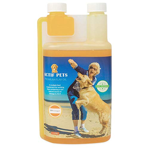 ACTIF PETS Flaxseed Oil for Dogs-Rich in Omega 3, 6 & 9 for Dry, Itchy Skin/Coat. A Natural Dog...