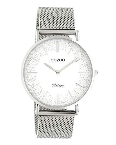 Oozoo Vintage Damenuhr mit Metallband 40 MM Weiß Glitzer/Silberfarben C20133