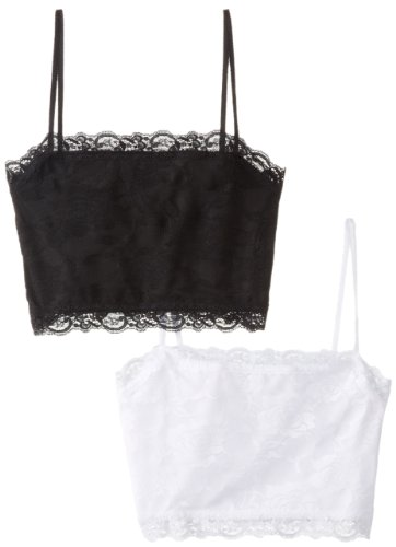 Pure Style Girlfriends Camiflage 2-Pack Lined Stretch Lace Half Camisole, Black/White, Medium