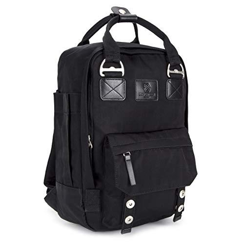 SEVENTEEN LONDON – Unisex 'Camden' Rucksack in schwarz mit einem modernen und verschieden tragbaren Design – perfekt für 13-Zoll-Laptops