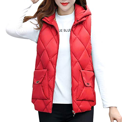 QIQIU Womens Plus Size Mouwloos Hooded Katoen Pocket Rits Vest Winter Warm Jas Korte Taillejas Bovenjas