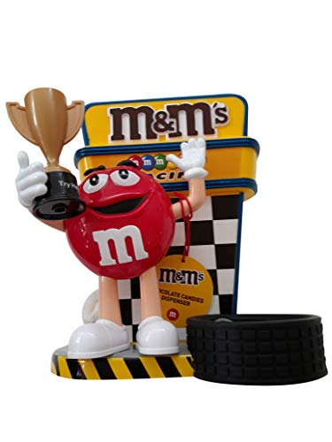 Racer Candy Dispenser by M&M Characters Red dispense candy, gumballs, nuts, snacks and treats for children, kids, adults