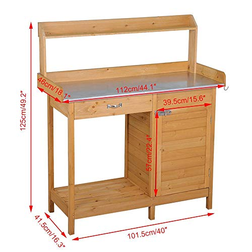 Yaheetech Outdoor Garden Potting Bench Table Work Bench Metal Tabletop W/Cabinet Drawer Open Shelf Natural Wood