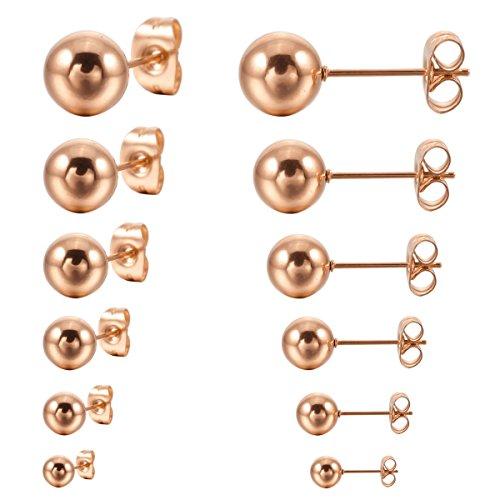 MunkiMix 3~8mm 12 PCS Acciaio Inossidabile Stallone Orecchini Rose Gold Tono Palla Perline Set (6 Coppie) Uomo,Donna