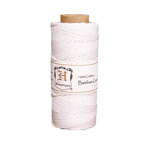 Hemptique 1mm Bamboo Cord - Crafters Number 1 Choice - Made with Love - Great for Jewelry Making, Macramé, DIY, Arts, Crafts & More - White