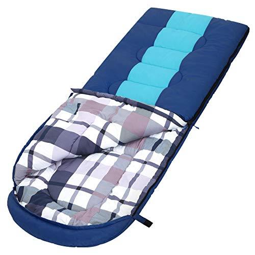 SONGMICS Schlafsack mit Kompressionsbeutel, breiter Deckenschlafsack, Komforttemperatur 5-15°C, für 3-4 Jahreszeiten, leicht zu transportieren, Camping, Wandern, 220 x 84 cm, blau-dunkelgrau GSB30GU