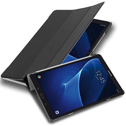 Cadorabo Funda Tableta para Samsung Galaxy Tab A 2016 (10.1') SM-T585N / T580N in Negro SATÉN – Cubierta Proteccíon Bien Fina en Cuero Artificial en Estilo Libro con Auto Wake Up e Función de Suporte