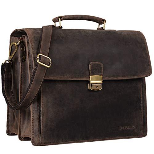 STILORD 'Noel' Aktentasche Leder Herren Vintage groß Klassische Arbeitstasche Bürotasche Umhängetasche Dokumententasche mit Laptopfach 13,3 Zoll und Trolleyschlaufe, Farbe:dunkel - braun