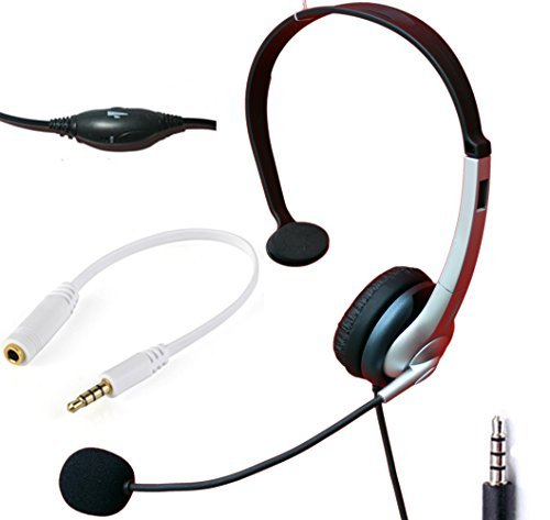 Voistek Wired Cell Phone Headset with Noise Canceling Boom Mic & Adjustable Headband for iPhone Samsung LG HTC Blackberry Huawei ZTE Mobile Phone & Most Smartphones with 3.5mm Headphone Jack (Mono K10J35)