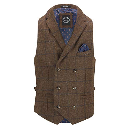 Xposed Jude Men's Gatsby Tweed Check View Chass Classic Double Breasted Collars Retro Tailored Fit[CWDB-JUDE-BROWN-56EU]