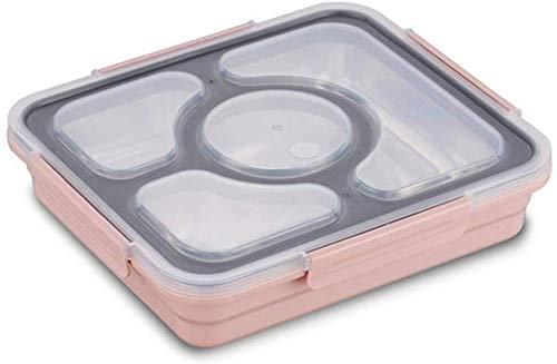 Pkfinrd Lunch BoxStudent White-Collar Compartiment Lekt geen voedsel of Meng Milieuvriendelijke Bento Boxen met Bestek China Roze 4compartiment