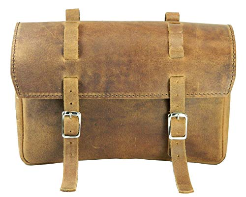 HERTE Leather bicycle saddle bag bike tool pouch retro classic vintage handlebar pannier, 9 inch X 5 inch X 3 inch, Brown