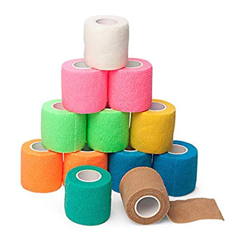 """Self-Adherent Cohesive Tape Strong Sports Tape,Elastic Sports Tape, for Wrist,Ankle,Adhesive Bandage (12 Colors,2"""" x 5 Yards)"""