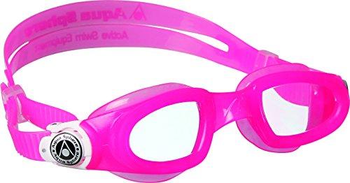 Aqua Sphere Unisex Jugend Moby Kid Schwimmbrille, Klare Gläser-Pink/Weiß, One Size
